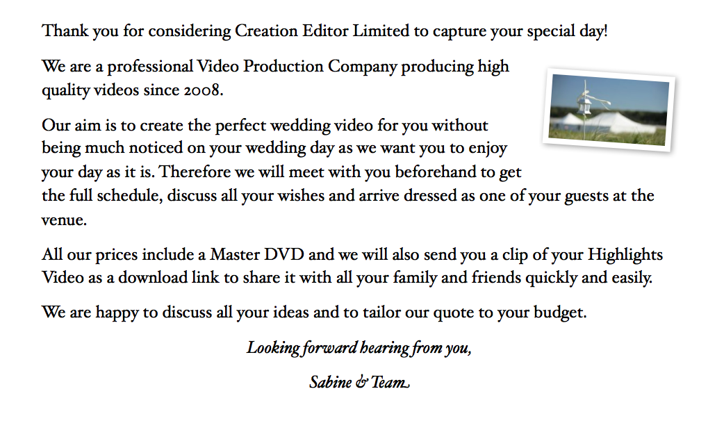Cheap wedding video