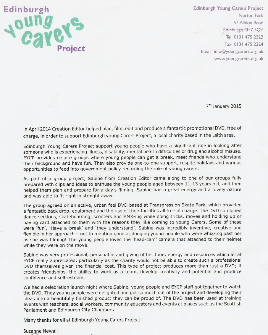 Edinburgh Young Carer Testimonial 2