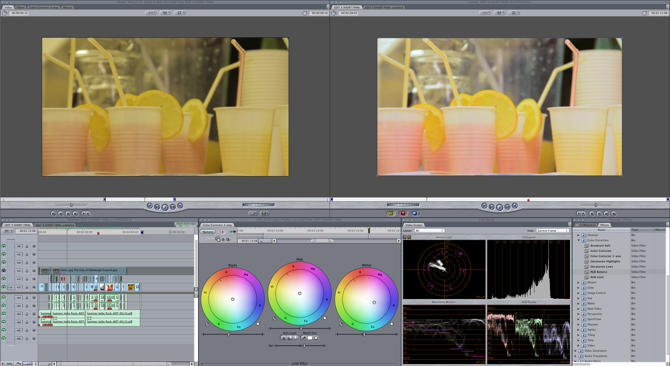 CE colour grading example Citrus Saturday